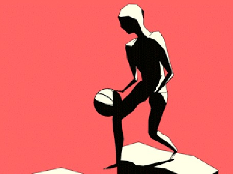 Анимация Виртуальный баскетболист бросает мяч в щит