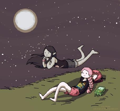 Анимация Marceline / Марселин и Princess Bubblegum / Принцесса Бубульгум наблюдают за падающими звездами, рядом лежит Бимо, Мультсериал Adventure Time / Время Приключений
