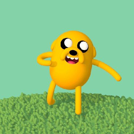 Анимация Пес Джейк куда - то направляется, арт по мультсериалу Adventure Time / Время Приключений