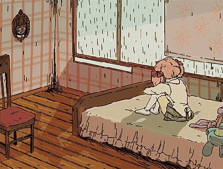 Анимация Мадока Канамэ / Madoka Kaname из аниме Девочка-волшебница Мадока Магика / Mahou Shoujo Madoka Magica обхватив ноги сидит в комнате на кровати, за окном серый дождь