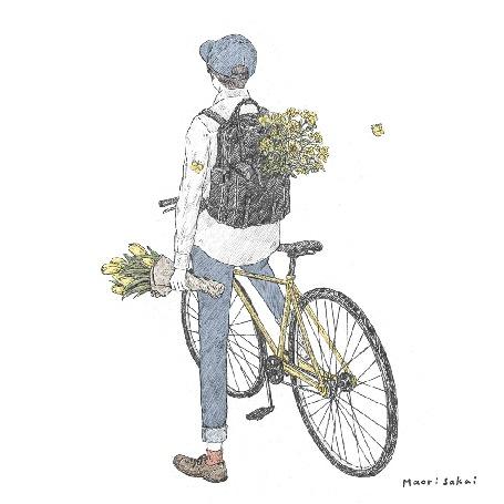 Анимация Парень с рюкзаком на спине и букетом тюльпанов в руке и бабочками, порхающими у цветов