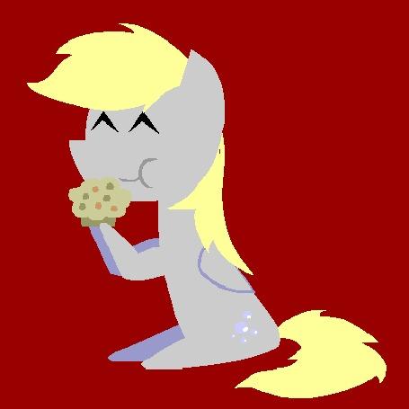Анимация Derpy Hooves / Дерпи Хувз - пегас серого цвета с косоглазием из мультфильма Дружба — это чудо / My Little Pony: Friendship Is Magic ест кексик