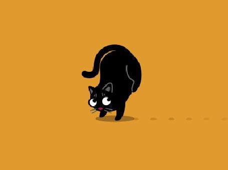 Анимация Черный кот идет на передних лапах