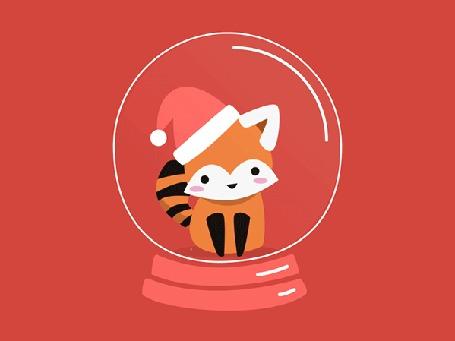 Анимация Красная панда в новогодней шапке внутри шарика с падающим снегом