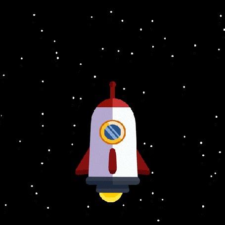 Анимация Ракета летит в космосе, грациозно поворачиваясь