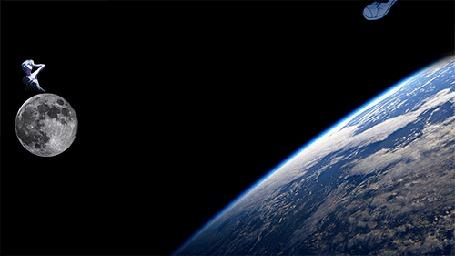 Анимация Синдзи Икари / Shinji Ikari из аниме Евангелион нового поколения / Neon Genesis Evangelion кувыркается в космосе над поверхностью Земли