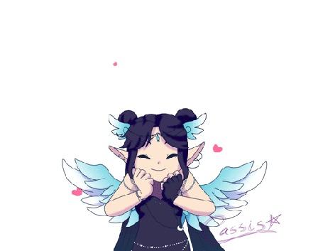 Анимация Темноволосая девушка-ангел радостно подпрыгивает на белом фоне сердечками / YCH Luna! by a-k-a-Cassis