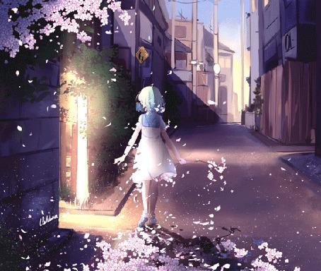 Анимация Исчезающая девушка идет по дороге