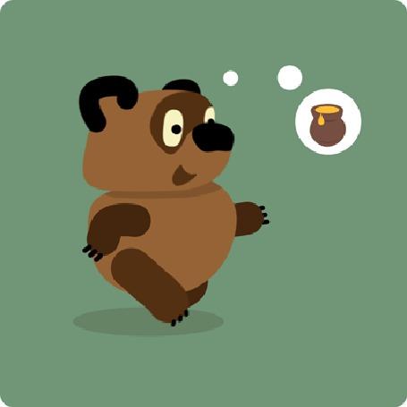 Анимация Винни-Пух идет, представляя в мыслях горшочек с медом