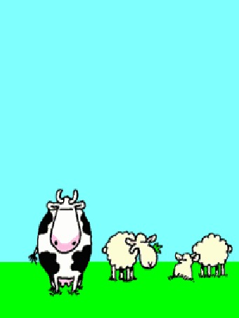 Анимация Корова летит по небу, внизу пасутся овцы и корова