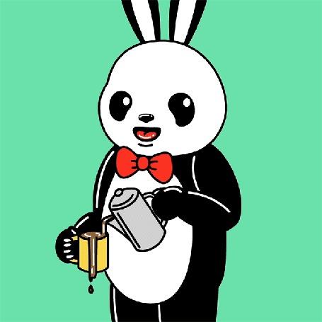 Анимация Панда Кролик наливает кофе в чашку, не замечая, что он переливается через край