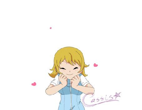 Анимация Светловолосая зеленоглазая девушка радостно подпрыгивает на белом фоне с сердечками / YCH Misha! by a-k-a-Cassis