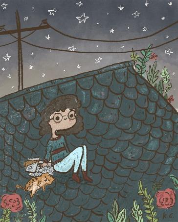 Анимация Девушка сидит на крыше смотрит на звезды, рядом спит кот, by Kye Cheng