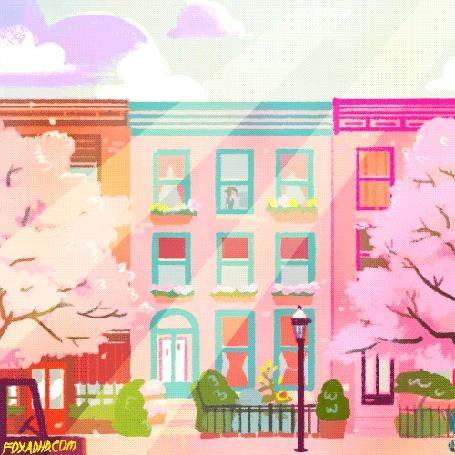 Анимация Девушка сидит за окном дома с весенними деревьями перед ним