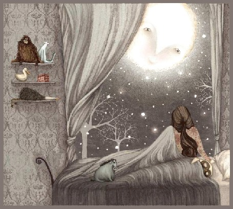 Анимация Девушка с диковинными существами смотрит на луну в окно
