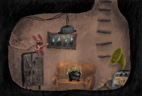Анимация Кролик и крот отрываются под музыку в подземной комнатке, by Stas Santimov