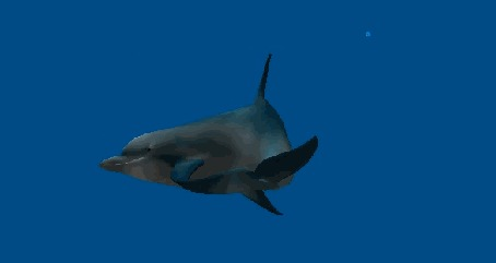 Анимация Дельфин кружится в толще океанской воды