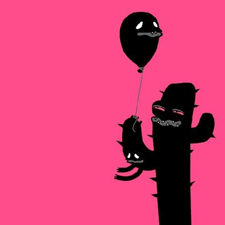 Анимация Странный чудик, похожий на кактус, держит в руке черный воздушный шарик