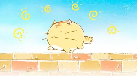 Анимация Кот Пуфик идет по кирпичной ограде, кадр из аниме Хроники Пуфика
