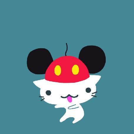 Анимация Танцующий белый котенок с разными шапками