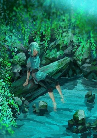 Анимация Эльф сидит на камнях, опустив ноги в воду, by 3 days march