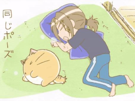 Анимация Кот Пуфик спит рядом со своим хозяином Хидэ, кадр из аниме Хроники Пуфика