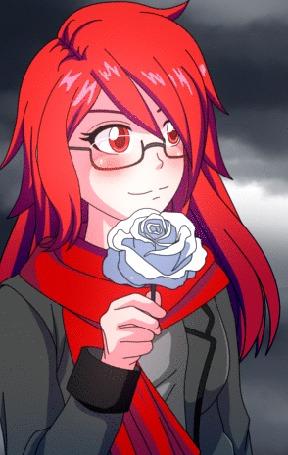 Анимация Девушка с яркими волосами и голубой розой в руке, by Sleince