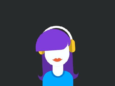 Анимация Девушка слушает музыку в наушниках