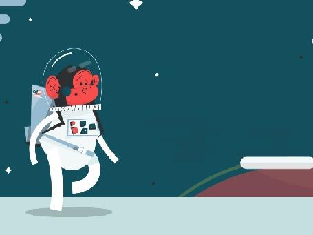Анимация Космонавт идет по планете и вдруг ему навстречу летит бумеранг