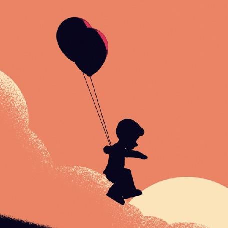 Анимация Мальчишка бежит изо всех сил, спускаясь с горы и пытается взлететь на привязанных воздушных шариках