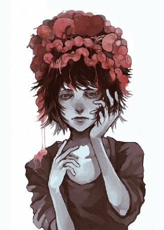 Анимация Девушка в меняющемся цветочном венке, переходящим в другой венок