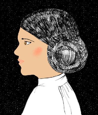 Анимация Портрет девушки в профиль на черном мерцающем фоне