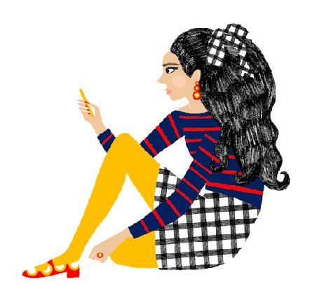 Анимация Девушка с телефоном в руке