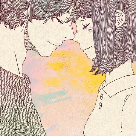 Анимация Парень и девушка стоят рядом