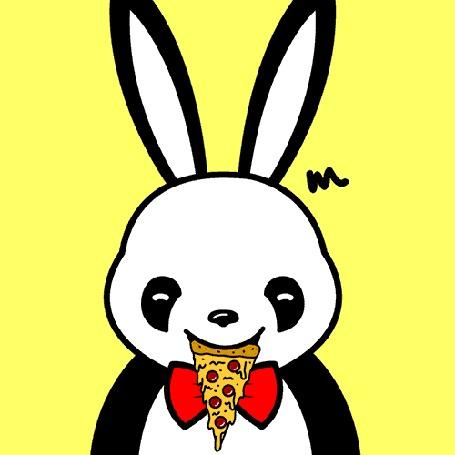 Анимация Панда Кролик ест пиццу (m m m)