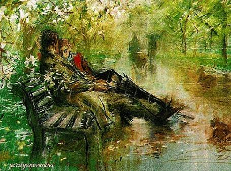 Анимация Влюбленная парочка сидит на лавочке под дождем