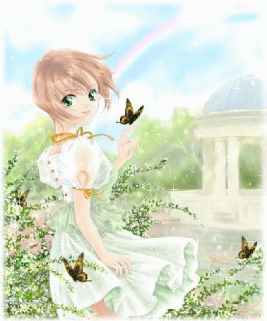 Анимация Девушка в белом платье в окружении бабочек, белая ротонда, радуга в небе