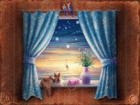 Анимация Кошка смотрит в окно на звездное небо и море с корабликом