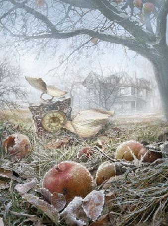 Анимация Поздняя осень, часы и яблоки на траве под деревом
