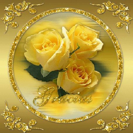 Анимация Желтые розы в золотых стразах