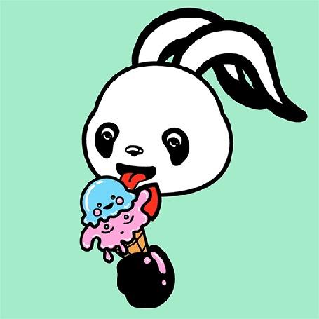 Анимация Панда Кролик с аппетитом ест мороженое