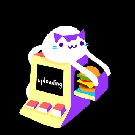 Анимация Кошка ловит гамбургеры специальной машинкой (uploading)