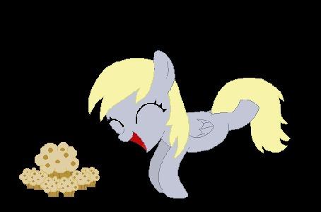 Анимация Derpy Hooves / Дерпи Хувз - пегас серого цвета с косоглазием из мультфильма Дружба — это чудо / My Little Pony: Friendship Is Magic радуется, увидев вкусное мороженое