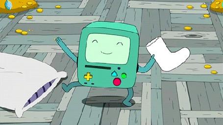 Анимация БиМО танцует с валенком в руке, мультсериал Adventure Time / Время Приключений