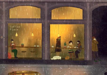 Анимация Люди в кафе, мужчина в подворотне и кошка на окошке на фоне дождя, by Lara Paulussen