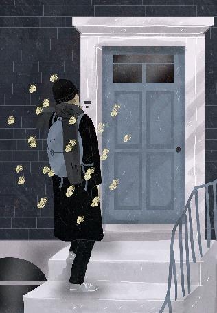 Анимация Бабочки вьются вокруг парня с рюкзаком, который стоит на крыльце перед закрытой дверью, by Lara Paulussen