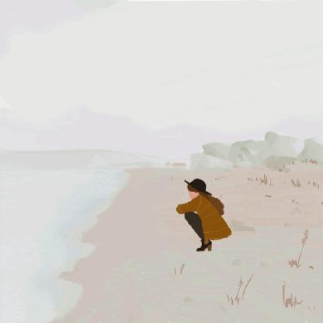 Анимация Девушка в шляпе сидит на берегу моря и смотрит на волны, by Dora Vincze