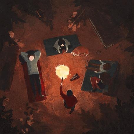 Анимация Люди с собакой расположились вокруг костра ночью, by Dora Vincze