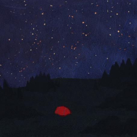 Анимация В палатке, которая стоит на природе, зажигается и гаснет свет, by Dora Vincze