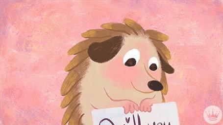 Анимация Ежик смущается, показывая табличку с надписью Quill you be mine?